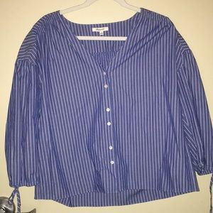 Blue and white striped Madewell top